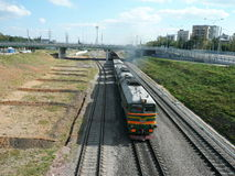 Trains on rails  moving Royalty Free Stock Photo
