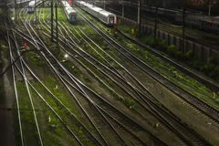 Trains in railway junction Stock Photography