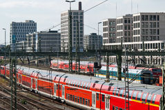 Trains in the railway station Royalty Free Stock Photography