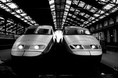 Trains in a railway station Stock Image