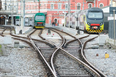 Trains in railway station Royalty Free Stock Image