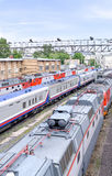 Trains at railway station. Roofs of trains at railway station. View from above Stock Images