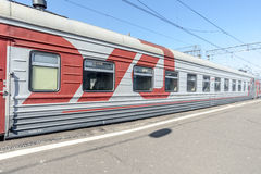 Trains in railway station in Russia.  Royalty Free Stock Image