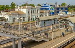 Trains in railway station in Russia.  Royalty Free Stock Photo