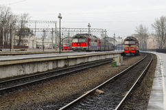 Trains on railway tracks. Stock Photo