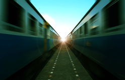 Trains run in parallel. Royalty Free Stock Photography