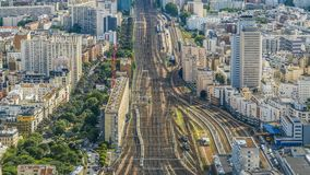 Trains running railway tracks in city, active traffic in megalopolis, time-lapse. Stock footage stock video footage