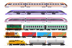 Trains set. Passenger and freight train with wagons. Vector railway transportation isolated on white background royalty free illustration
