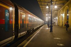 Trains on the station Stock Photography
