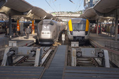 Trains at the station Stock Images