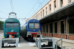 Trains at the station Venice, stock image