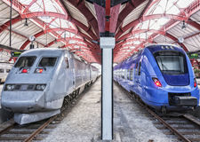 Trains stationnaires Photo stock