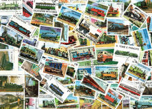 Trains and steam engines - background of postage stamps. Trains and steam engines - background of old used postage stamps from various countries worldwide Stock Image