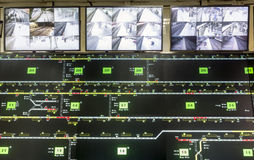 Trains surveillance room Royalty Free Stock Photography