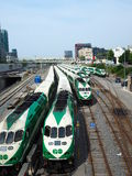 Trains in Toronto parked close to the station Stock Photos