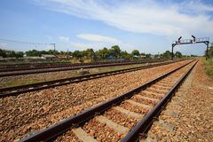 Trains track junction Royalty Free Stock Photos