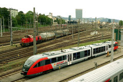 Trains on track in Linz, Austria Royalty Free Stock Photos