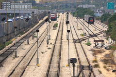 Trains on the tracks. Tel Aviv, Israel. Royalty Free Stock Photography