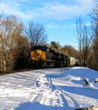 Trains. Train after a snow Stock Image