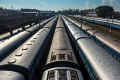 Trains at train station. Trivandrum, India Stock Photo