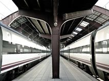 Trains in a train stration. Two trains in a train station Royalty Free Stock Photography