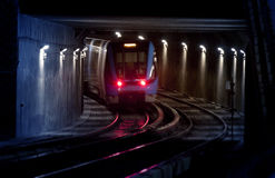 Trains on traintracks, blurred Royalty Free Stock Image