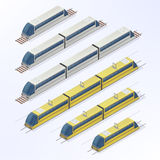 Trains and Trams Isometric Set. Modern Urban Passenger Transport Royalty Free Stock Photography