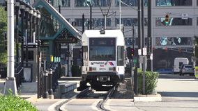 Trains, Trams, Subways, Metros, at Stations. Stock video of a light rail stock video