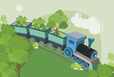 Trains trees. Stock Photography