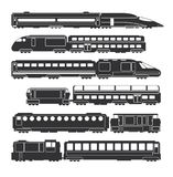 Trains and wagons black vector railway cargo and passenger transportation silhouettes Stock Photo