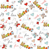 Trains, wagons and rails , doodle  seamless pattern Royalty Free Stock Image