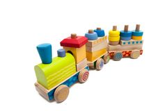 Trains wooden toys stock photo
