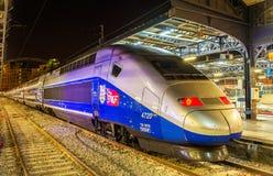 Trainset del TGV Euroduplex en el ferrocarril París-Est Fotografía de archivo