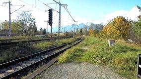 Trainset RegioJet in Poprad. Trainset passenger transport RegioJet track near Poprad in Slovakia stock footage