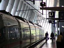 Trainstation. ICE train in the Railway station Frankfurt Airport royalty free stock photography