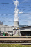 Trainstation, cooling tower Stock Images