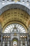 Trainstation hall Antwerp Belgium. Entrance hall of the trainstation in Antwerp Belgium beautiful ceiling en windows Stock Photos