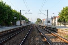 Trainstation i Aguda Arkivfoton
