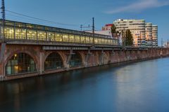 Trainstation at the river Spree in Berlin. At dusk Royalty Free Stock Image
