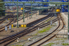 Trainstation with tracks. In Groningen, the Netherlands Stock Photos
