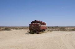 Trainwreck w pustyni zdjęcia stock
