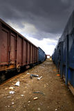 Trainyard abandonné Photographie stock