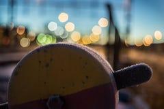 Trainyard kugghjul med bokehbakgrund Arkivbilder