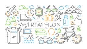 Trait horizontal coloré triathlon de bannière Concept de sport de vecteur Image libre de droits