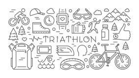 Trait horizontal triathlon de bannière Concept de sport de vecteur Vecteur l Images libres de droits