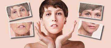 Traitement anti-vieillissement, de beauté, vieillissement et jeunesse, se soulevant, soins de la peau, concept de chirurgie plast image libre de droits