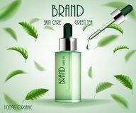 Traitement cosmétique de calibre d'annonces Bouteille de sérum de soins de la peau de thé vert avec des feuilles de thé et la bai illustration de vecteur