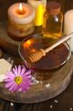 Traitement de miel et de station thermale Images libres de droits