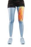 Traitement de physiothérapie avec la bande thérapeutique pour la douleur dans la jambe photographie stock