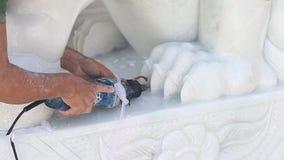 Traitement de statue de marbre banque de vidéos